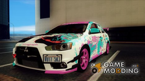 Mitsubishi Lancer Evolution X - Miku Hatsune Itasha for GTA San Andreas