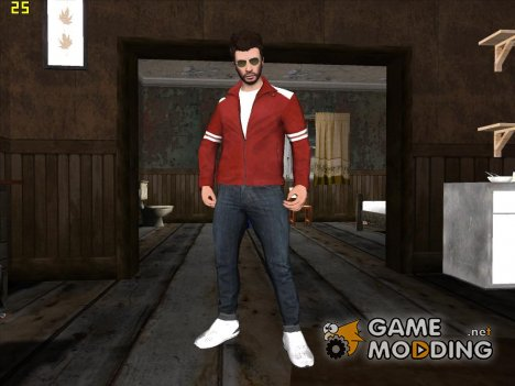 Skin GTA V Online HD в красной куртке для GTA San Andreas