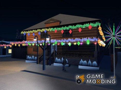 Новогодние декорации Гроув-стрит for GTA San Andreas
