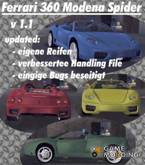 Ferrari 360 Spider для GTA 3