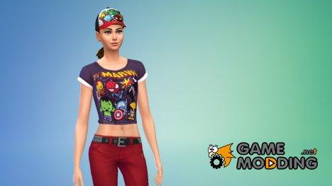 Кроп-топы и кепки Marvel for Sims 4