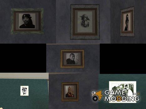 Картины в доме CJ с портретами рэперов из 90-х для GTA San Andreas