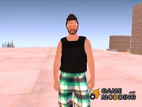Skin HD GTA V Online в оранжевых очках для GTA San Andreas