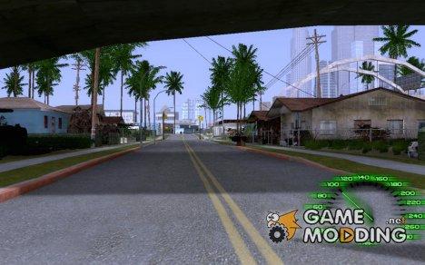 Зелёный прозрачный спидометр для GTA San Andreas