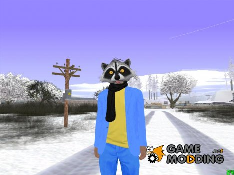 Skin HD GTA Online в маске енота v4 for GTA San Andreas