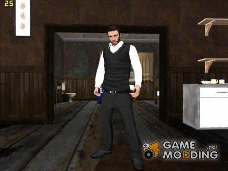 Skin GTA V Online HD в чёрной жилетке для GTA San Andreas