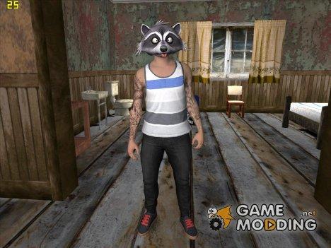 Skin HD GTA V Online в маске Енота v2 для GTA San Andreas