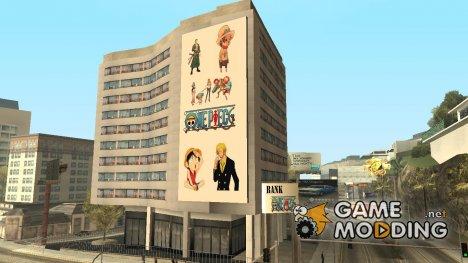 Новый постер на здании банка с главным героем из One Piece для GTA San Andreas