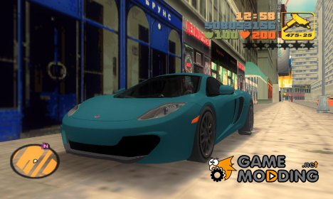 "McLaren MP4-12C ""TT Black Revel"" for GTA 3"