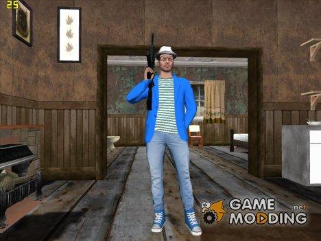 Skin HD GTA V Online парень в синем for GTA San Andreas