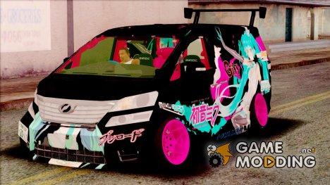 Toyota Vellfire - Miku Hatsune Itasha for GTA San Andreas