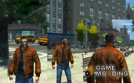 Коричневая кожаная куртка v.2 для GTA 4