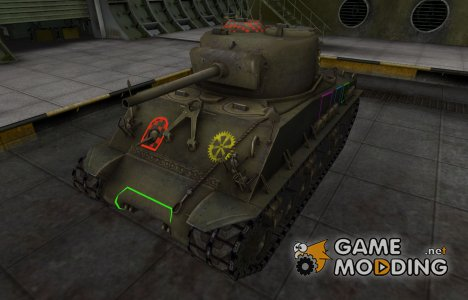Контурные зоны пробития M4A2E4 Sherman for World of Tanks